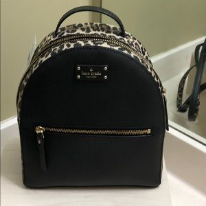 NWT kate spade sammi black & leopard backpack